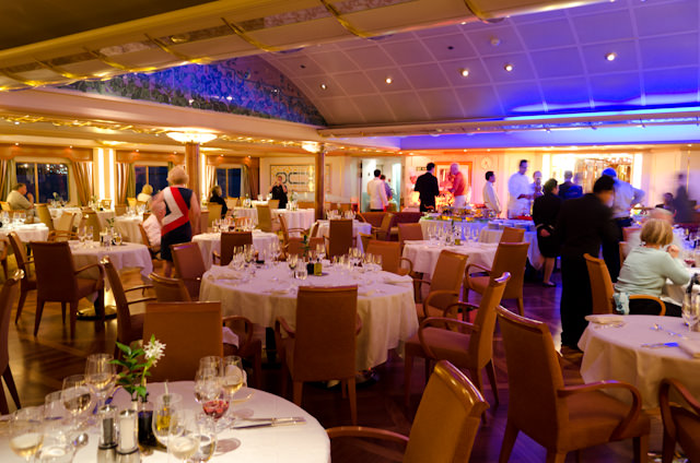 Tonight, guests aboard Silver Wind were invited to dine in The Restaraunt (above) on Deck 4 and help themselves to food arranged in the ship's galley. Photo © 2013 Aaron Saunders
