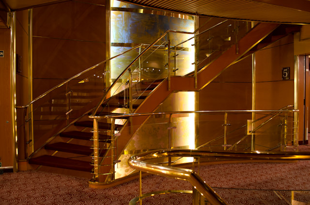 The central Staircase aboard Silversea's Silver Wind runs from Deck 8 to Deck 4. Photo © 2013 Aaron Saunders