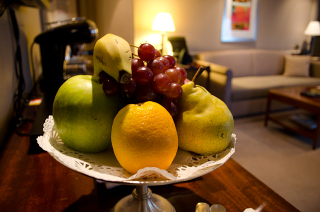 Fresh fruit in the Grand Suite. Photo © 2013 Aaron Saunders