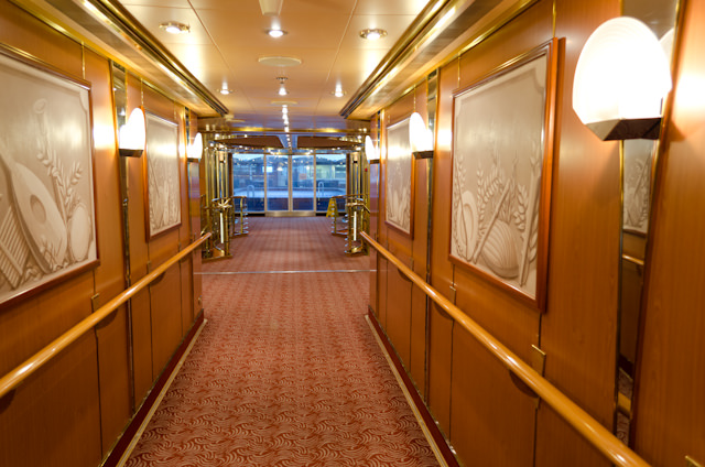 The Deck 8 corridor outside the Panorama Lounge aboard Silver Wind. Photo © 2013 Aaron Saunders
