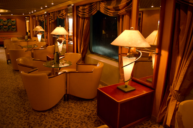 The Bar aboard Silver Wind at night: warm and inviting. Photo © 2013 Aaron Saunders