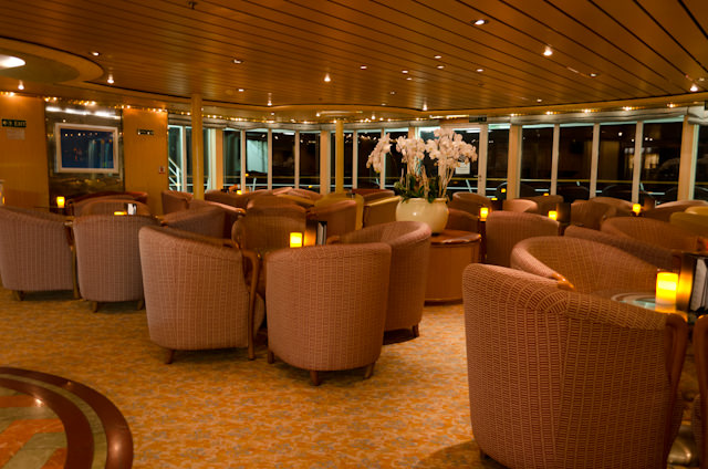 One of my favorite - if underused - spots onboard: the Panorama Lounge on Deck 8. Photo © 2013 Aaron Saunders