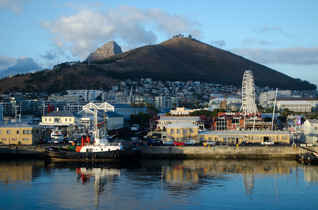 The morning sun rises over Cape Town, South Africa on January 25, 2013. Photo © 2013 Aaron Saunders