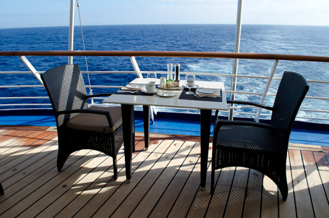 Few things are quite as nice as breakfast outside on the Veranda at La Terrazza, Deck 7 aft. Photo © 2013 Aaron Saunders