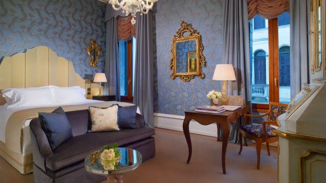 Vaunting a south-west location rich in natural light that affords captivating views of neighbouring Santa Maria del Giglio Square and its neo-classical church, spacious and luminous Giglio Prestige Rooms. photo courtesy The Gritti Palace