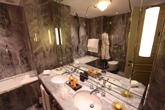 The Gritti Palace reopened in March after an multi-million euro renovation With floor-to-ceiling Italian marble, the bathrooms were extensively refitted. Yep, that's Acqua di Parma, the famed Italian toiletry. ©2013 Ralph Grizzle