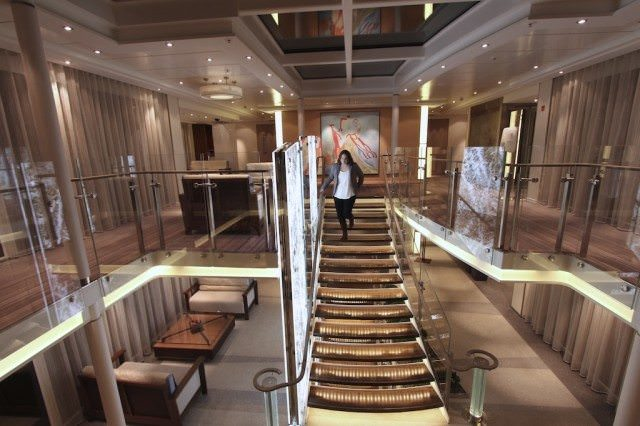 Viking Aegir made its debut in August 2012 and features the lighted marble decorative slabs along the staircase. Compare to the rich wood slats on the Viking Bragi, launched in March 2013. ©2013 Ralph Grizzle