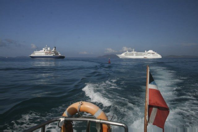 """Two luxury vessels with differing on board lifestyles. Silver Cloud is a bit more refined than SeaDream, which emphasizes """"yachting"""" over cruising. © 2009 Ralph Grizzle"""