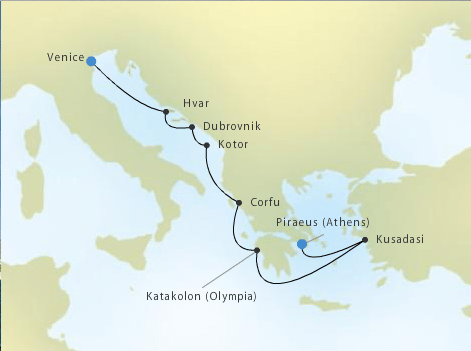 Silver Spirit Voyage 5320, Piraeus (Athens), Greece to Venice, Italy