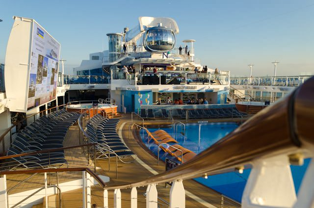 Quantum of the Seas Pool Deck, facing the North Star. Photo © 2014 Aaron Saunders
