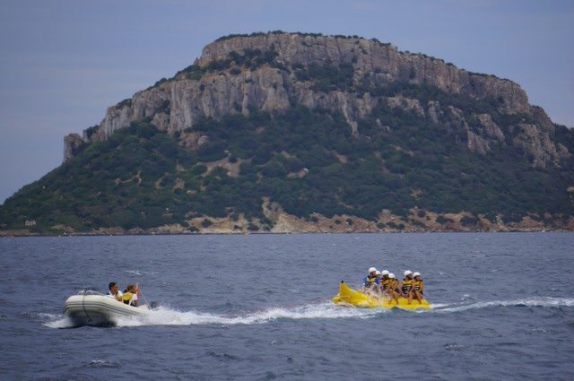On the banana boat/float while anchored in Sardinia. @ 2013 Ralph Grizzle