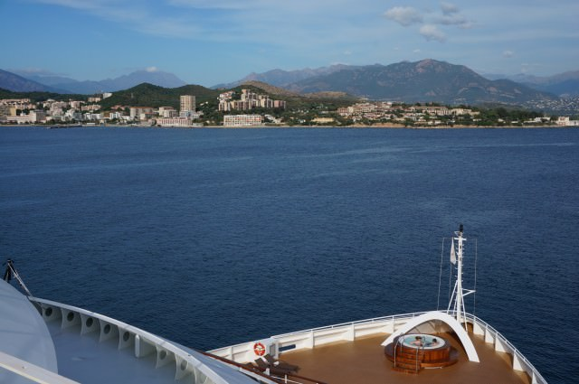 Whirlpool at the front of Seabourn Quest, pictured here in Ajaccio, Corsica. @ 2013 Ralph Grizzle
