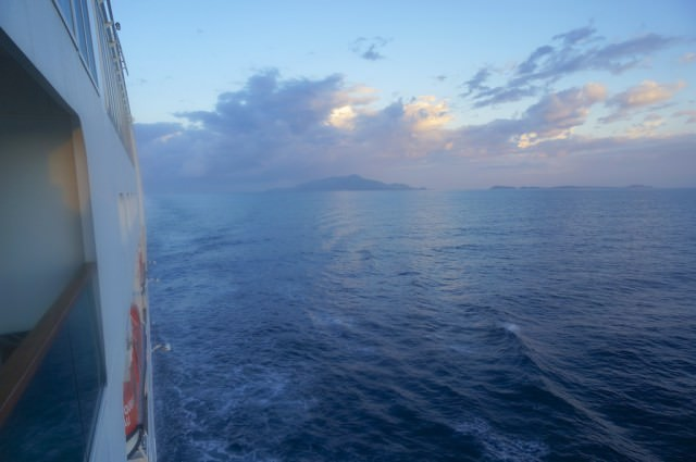 The sky behind us as we approach Sorrento on a beautiful morning on Seabourn Quest, sailing from Barcelona, Spain, to Athens, Greece. @ 2013 Ralph Grizzle