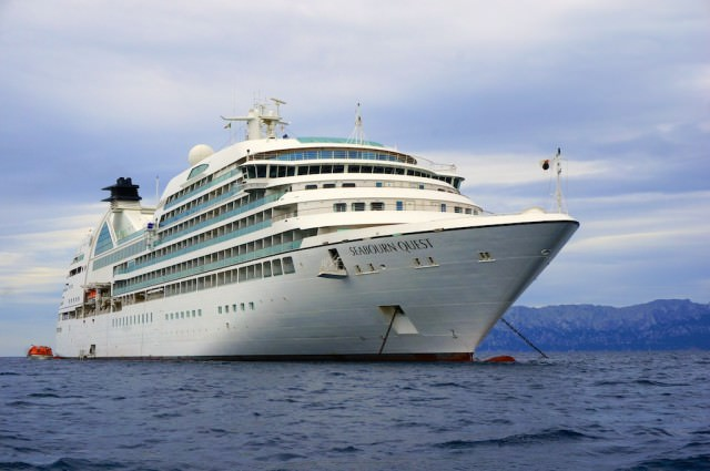 Seabourn Quest anchored in Golfo Aranci (Sardinia), Italy. @ 2013 Ralph Grizzle