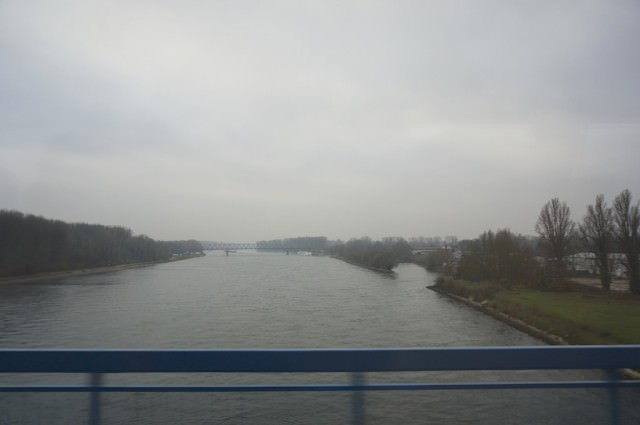 A gray day on the Rhine. A-ROSA Silva is docked at the second bridge, barely visible in the photo. ©2013 Ralph Grizzle