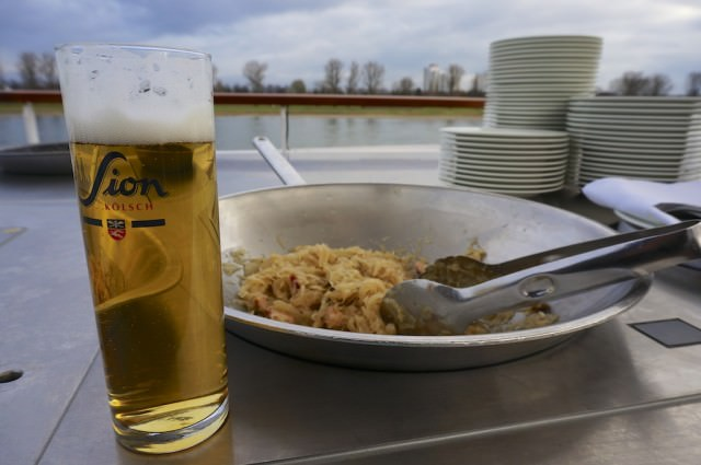 Hard to beat Kölsch with Kraut, served on the sundeck on A-ROSA Silva as we cruise into Cologne. © 2013 Ralph Grizzle