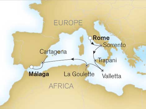 Silver Wind voyage 2334, Rome to Malaga. Illustration courtesy of Silversea.