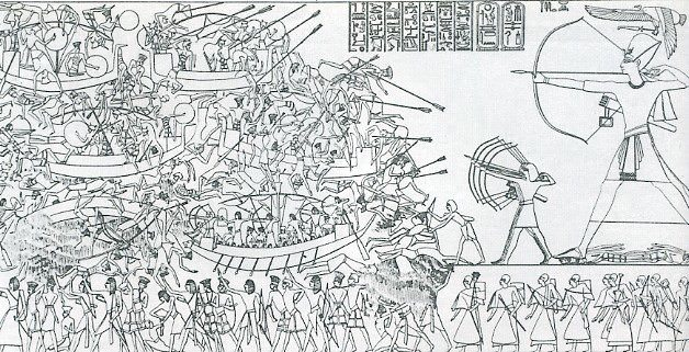 The Battle of the Delta. Relief from the mortuary temple of Ramesses III at Medinet Habu