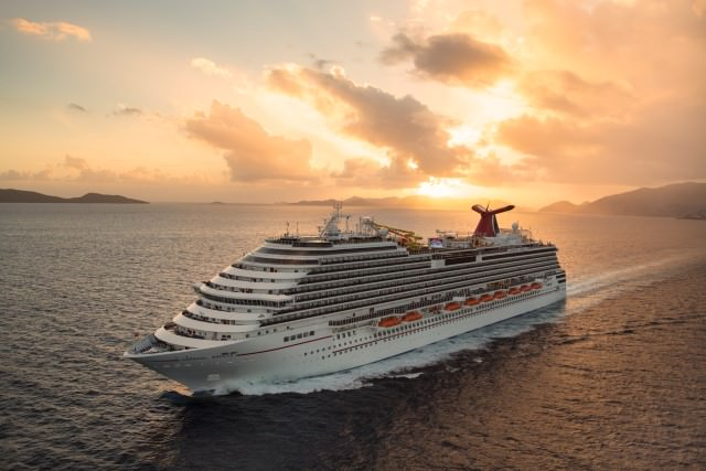 Carnival Breeze sails into the Caribbean sunset. Photo courtesy of Carnival.
