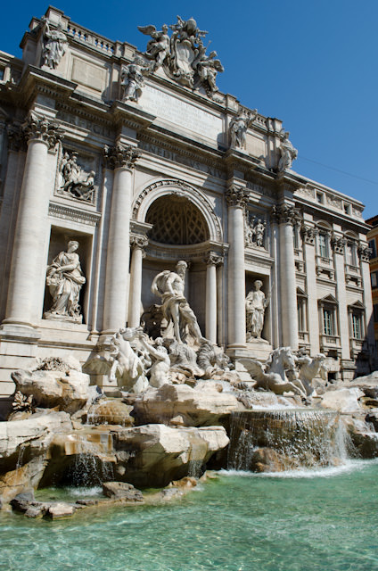 Our journey begins in the beautiful city of Rome, Italy. Shown here is the famous Trevi Fountain. Photo © 2013 Aaron Saunders