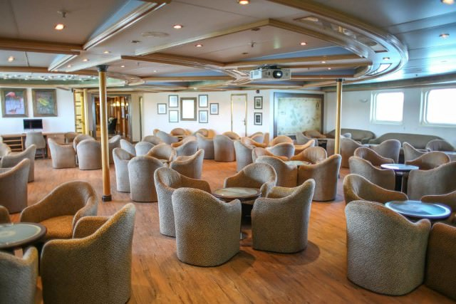 Silver Galapagos underwent a massive refit prior to entering service with Silversea. Pictured here is the ship's Main Lounge. Photo courtesy of Silversea.