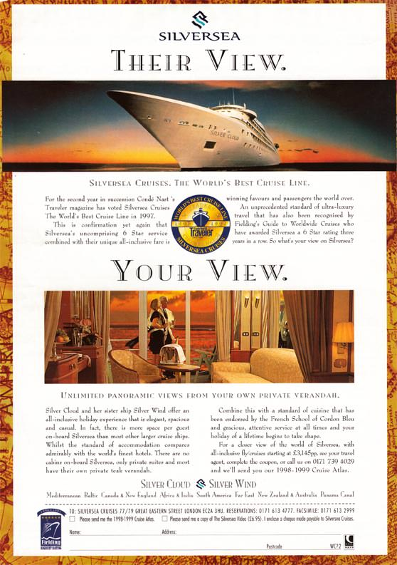 The 1998 advertisement for Silversea that launched my love affair with the Silver Cloud and her sister, Silver Wind. To be able to sail on her again after this recent refit is an absolute dream come true. Aaron Saunders' collection.