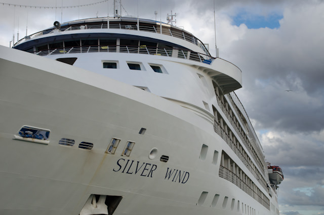 Silversea's elegant Silver Wind docked in Trapani, Sicily, on Thursday, November 21, 2013. Photo © 2013 Aaron Saunders