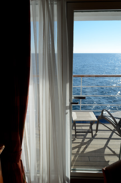 The quintessential Mediterranean day. The sun rises on an unexpected - but beautiful - day at sea aboard Silversea's Silver Wind. Photo © 2013 Aaron Saunders