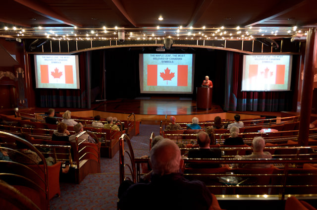 Is Canada different from the United States? We learned all about it in this afternoon's lecture by Dr. Lew Deitch in the Parisian Lounge. Photo © 2013 Aaron Saunders