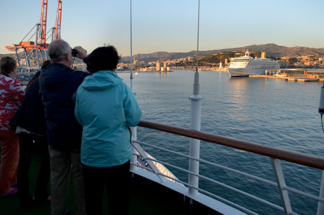 Arrival into Malaga, Spain this evening aboard Silversea's Silver Wind. Photo © 2013 Aaron Saunders