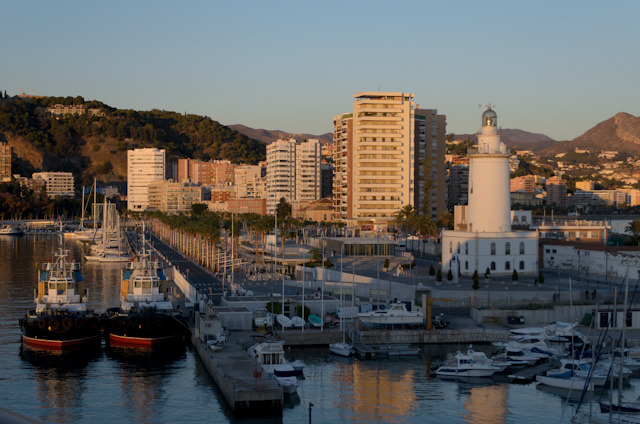 An unexpected surprise: a sunset sail-in to Malaga. Photo © 2013 Aaron Saunders