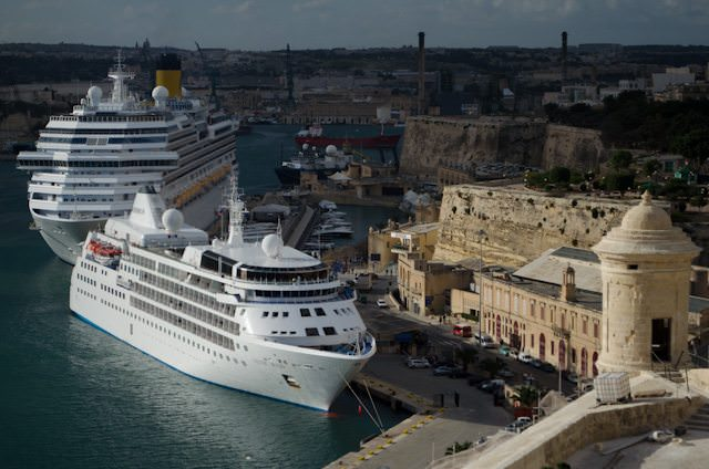 Silver Wind docked in Valletta, Malta. Photo © 2013 Aaron Saunders