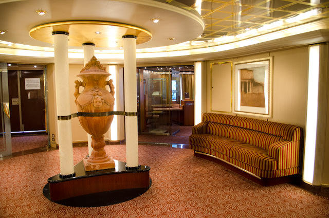Silver Wind is full of stunning little nooks and crannies in which to while away the time. Pictured here is the Lobby on Deck 5. Photo © 2013 Aaron Saunders