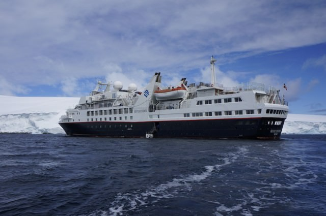 Silver Explorer anchored in Kinnes Cove this afternoon to dispatch zodiac cruises through icebergs. © 2013 Ralph Grizzle