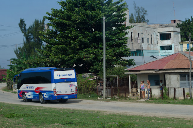 One of the Cuba Cruise motorcoaches departs Antilla, bound for Holguin. Photo © 2014 Aaron Saunders