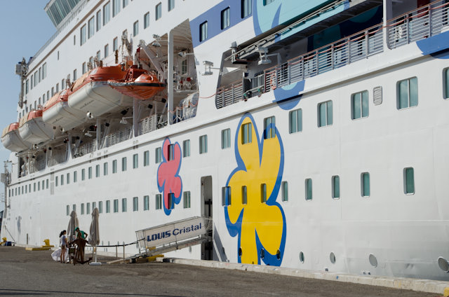 Louis Cristal has been repainted in the Cuba Cruise brand; a fun, whimsical display that differentiates this interesting ship from her Greek Islands itineraries for Cyprus-based Louis Cruises. Photo © 2014 Aaron Saunders