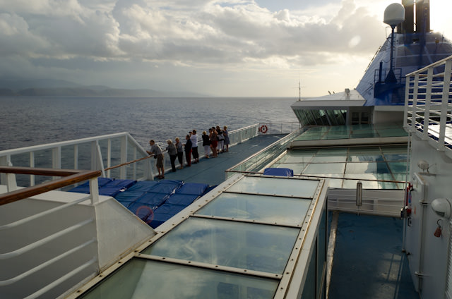 The view at 7:45am aboard the Louis Cristal, looking aft. Photo © 2014 Aaron Saunders