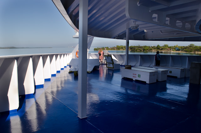 Deck 5 aboard Louis Cristal stretches from the ship's stern to the very stem of her bow, pictured above. Some great views can be had here when this area is open. Our first full day aboard Cuba Cruise's Louis Cristal has us docked in Cienfuegos, Cuba. Photo © 2014 Aaron Saunders