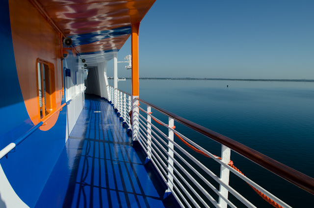 Walk forward along Deck 5 aboard the Louis Cristal (when open) for some fantastic views. Photo © 2014 Aaron Saunders