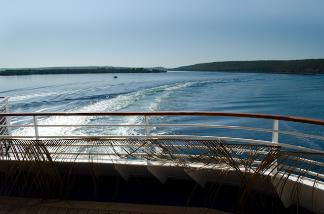 Looking astern from Deck 5, our wake reveals the circuitous passage the Louis Cristal has to traverse to dock in Cienfuegos. Photo © 2014 Aaron Saunders
