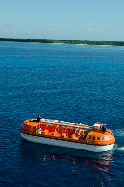 The first tenders from Cuba Cruise's Louis Cristal head ashore at Punta Frances. Photo © 2014 Aaron Saunders