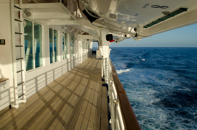 The gorgeous Promenade on Deck 5 is one of my favorite spaces aboard the Louis Cristal. Photo © 2014 Aaron Saunders