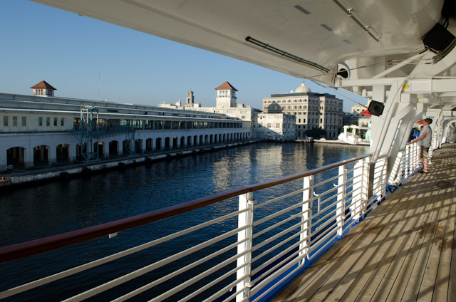 Backing into our berth at the Havana Cruise Terminal. Photo © 2014 Aaron Saunders