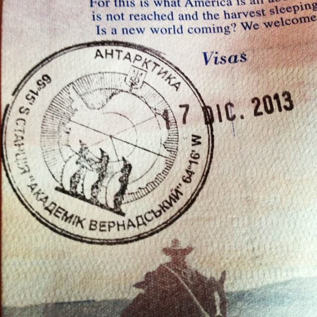 I have now stepped on all seven continents, proof of purchase confirmed by this stamp in my passport. © 2013 Ralph Grizzle