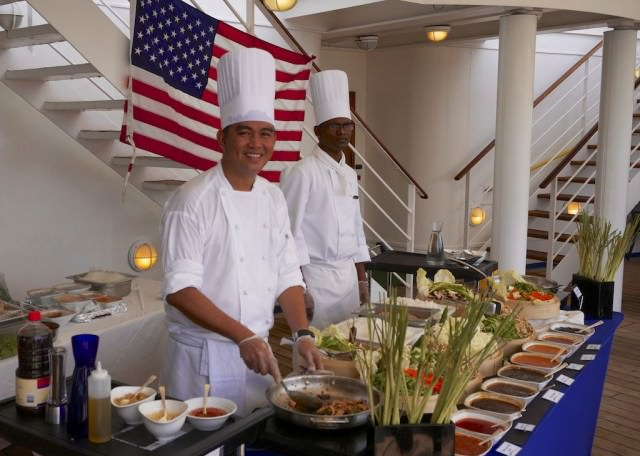 For lunch, we enjoyed a buffet with live cooking stations on the pool deck. © 2014 Ralph Grizzle