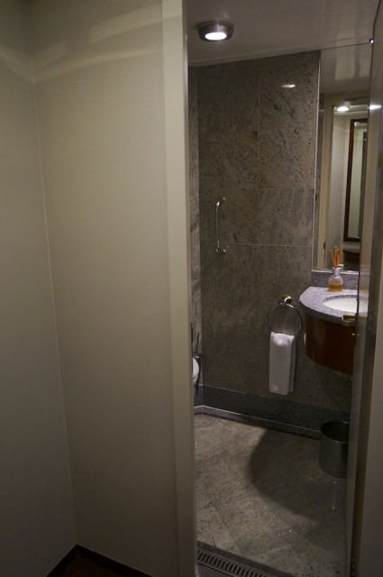 A guest bathroom is situated at the entrance of the Grand Suite. © 2014 Ralph Grizzle