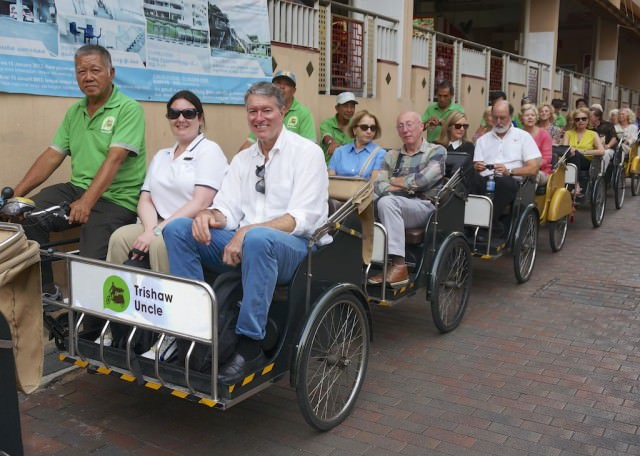 All aboard for the Evening Trishaw Experience in Singapore on Silver Shadow. © 2014 Ralph Grizzle