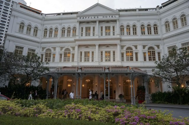 Our Evening Trishaw Experience concluded at the famous Raffles Hotel in Singapore. © 2014 Ralph Grizzle