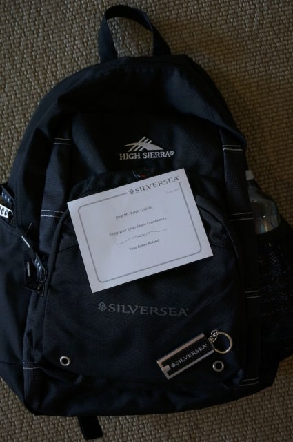 For my shore excursion last week, Silversea provided a complimentary backpack, stocked with water, a Silversea cap, Evian spray and other items. © 2014 Ralph Grizzle