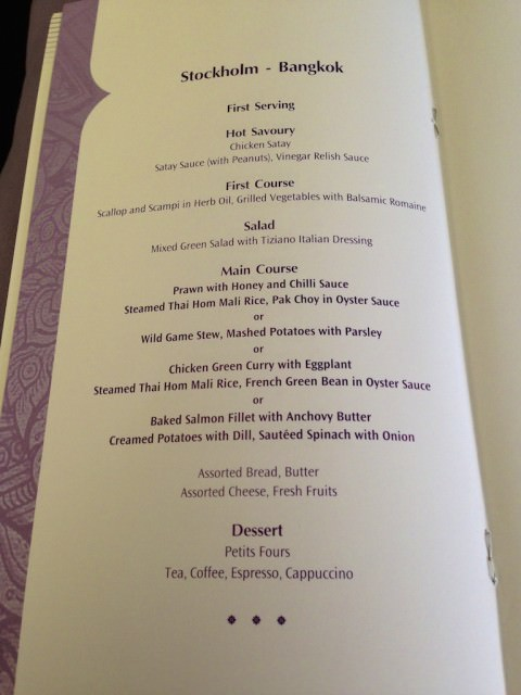 Thai Airways dinner menu